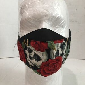 Death Rose cotton facemask, Death rose face shield